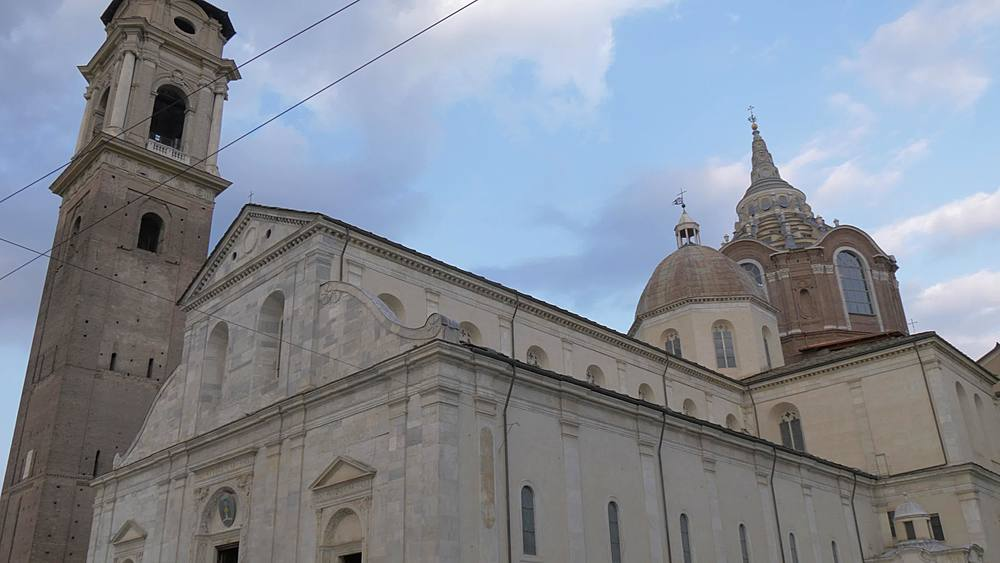 Pan shot of Cathedral of Saint John the Baptist, Turin, Piedmont, Italy, Europe