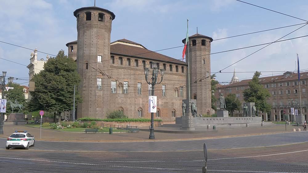 Pan shot of Castello in Piazza Castello, Turin, Piedmont, Italy, Europe