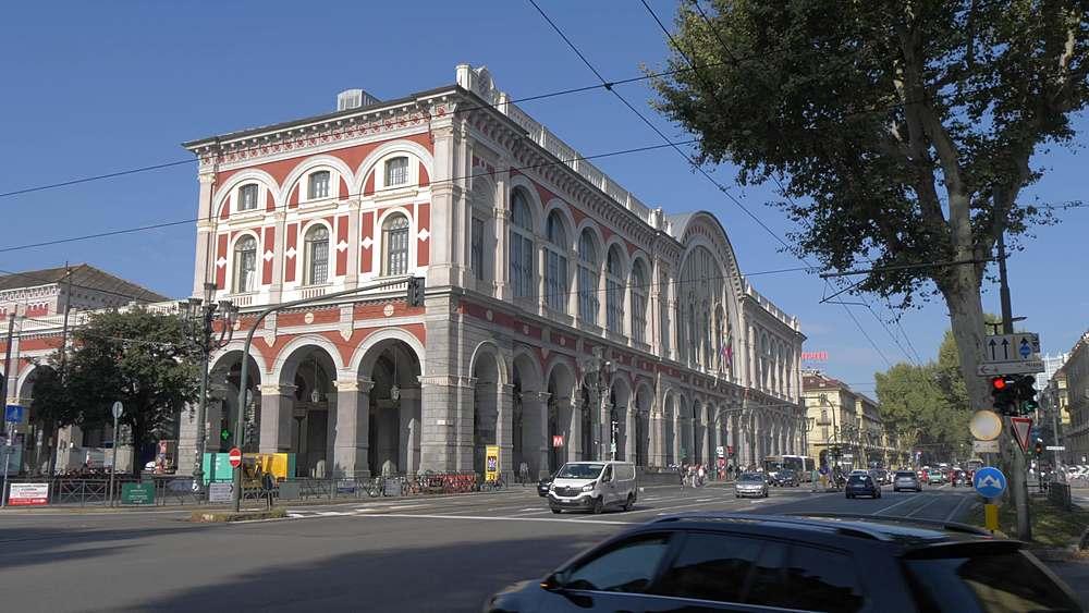 Pan shot of Torino Porta Nuova Railway Station, Turin, Piedmont, Italy, Europe