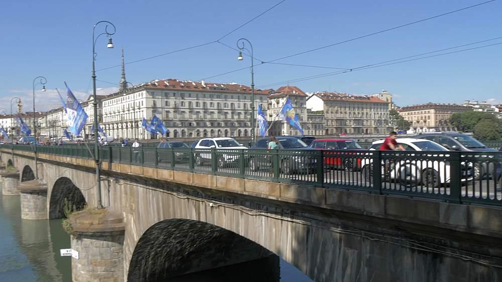 Pan shot of Gran Madre Di Dio Church and Ponte Vittorio Emanuele I, Turin, Piedmont, Italy, Europe