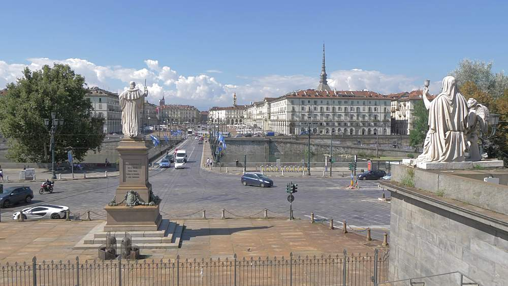 Pan shot of Turin skyline from Gran Madre Di Dio Church, Turin, Piedmont, Italy, Europe