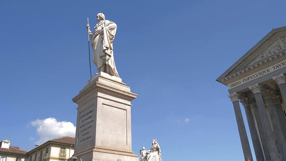 Pan shot of Gran Madre Di Dio Church and statue in Piazza Gran Madre di Dio, Turin, Piedmont, Italy, Europe