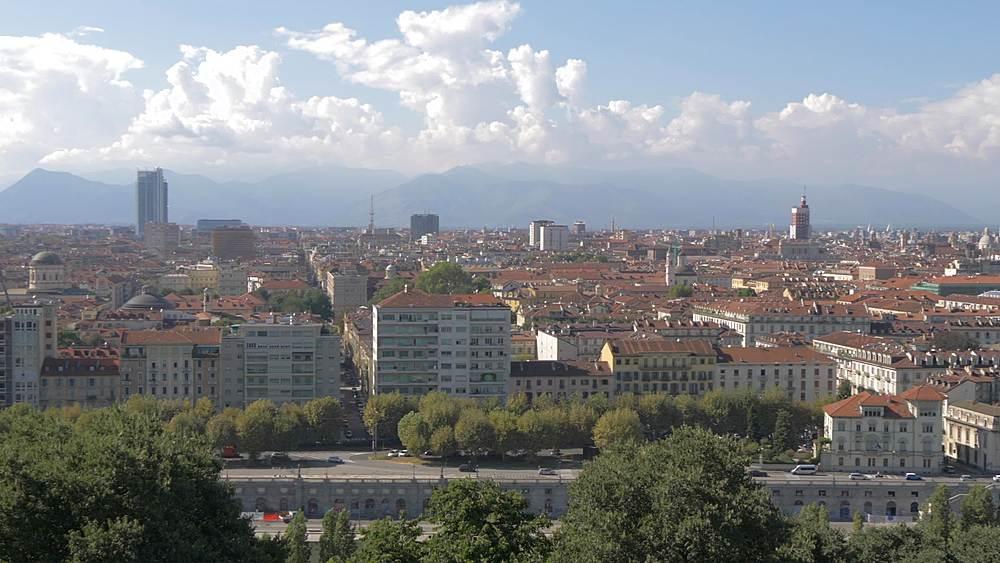 Pan shot of Turin skyline from Santa Maria del Monte dei Cappuccini, Turin, Piedmont, Italy, Europe