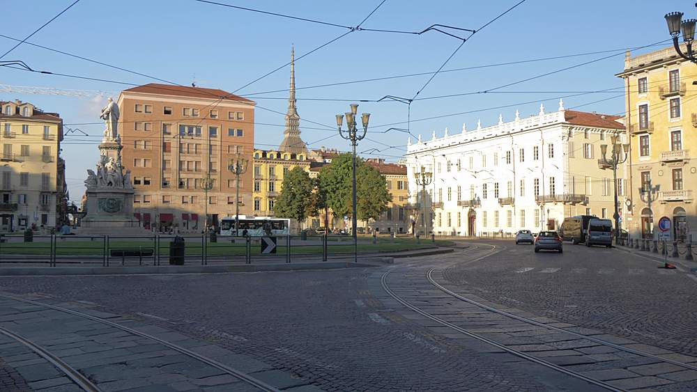 Pan shot of Mole Antonelliana from Piazza Carlo Emanuele ll, Turin, Piedmont, Italy, Europe