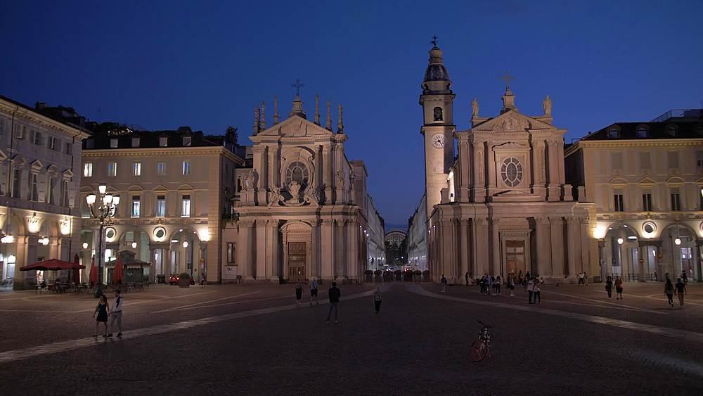 Pan shot of Piazza San Carlo at dusk, Turin, Piedmont, Italy, Europe