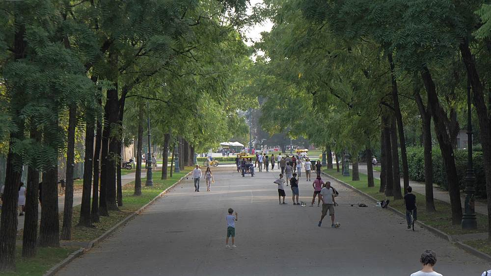 Still shot of activity in Parco del Valentino during summer, Turin, Piedmont, Italy, Europe