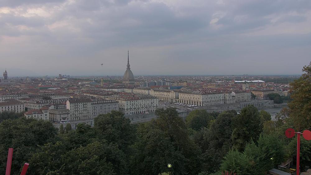 Zoom out view of Turin skyline and Mole Antonelliana from Santa Maria del Monte dei Cappuccini, Turin, Piedmont, Italy, Europe