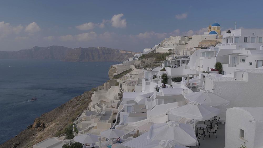 Still shot of Mediterranean Sea and Oia during morning, Santorini, Cyclades, Greek Islands, Greece, Europe