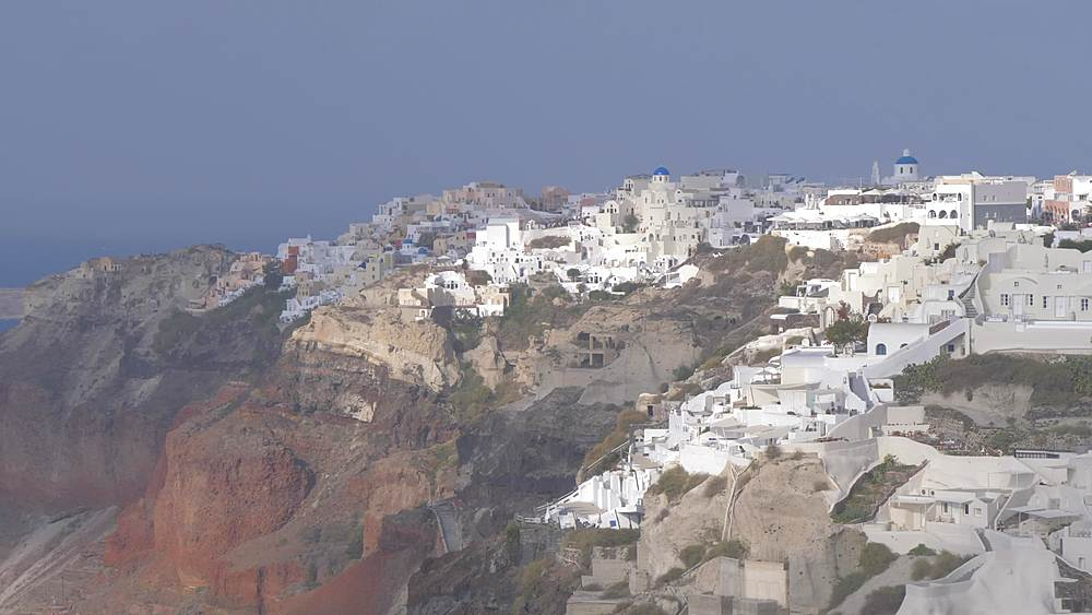 Tilt view of Oia during morning, Santorini, Cyclades, Greek Islands, Greece, Europe
