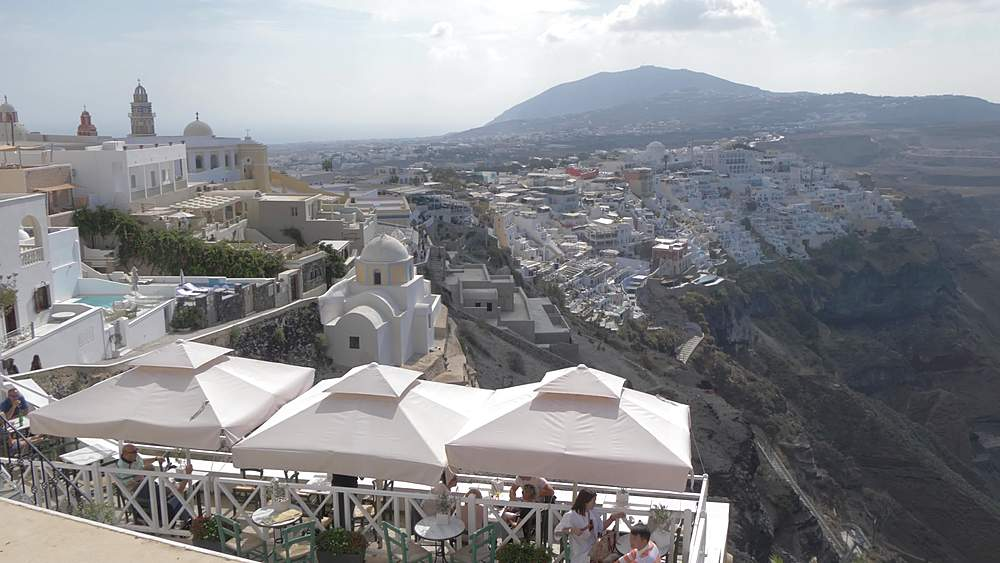 View of Fira with its domed churches and whitewashed houses, Fira, Santorini, Greek Islands, Greece, Europe