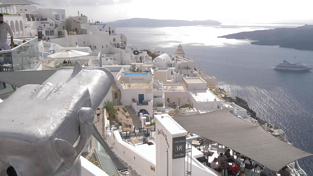 View of domed churches, whitewashed houses and cruise ships, Fira, Santorini, Cyclades, Greek Islands, Greece, Europe