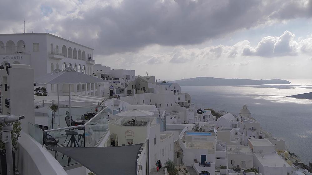 Crane shot of domed churches and whitewashed houses, Fira, Santorini, Cyclades, Greek Islands, Greece, Europe