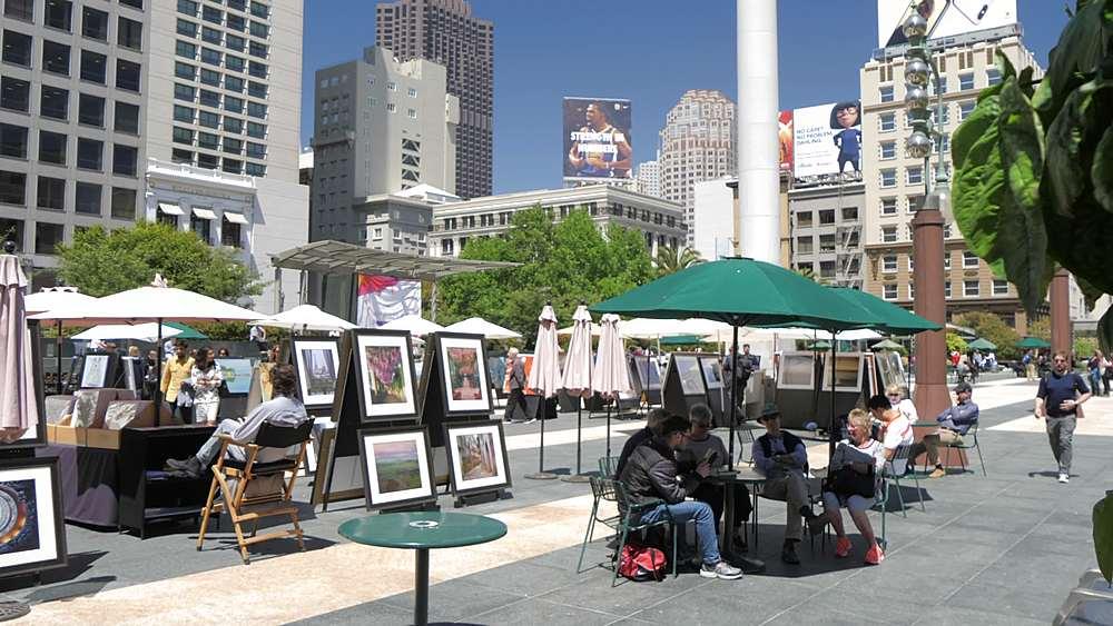 Slider shot of Union Square, San Francisco, California, United States of America, North America - 844-18444