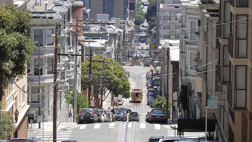 View of cable car on Washington Street, San Francisco, California, United States of America, North America - 844-18522