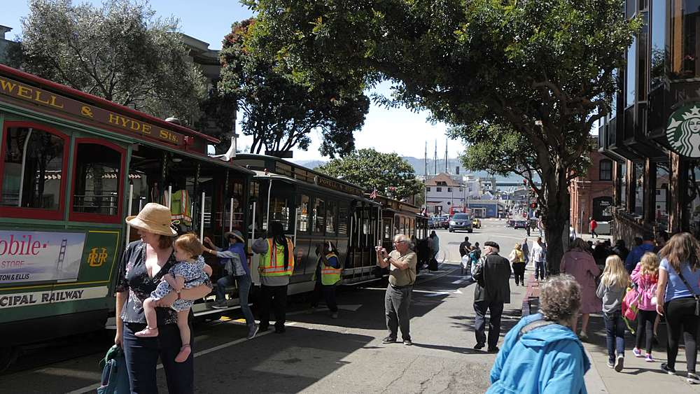 People and cable car on Hyde Street, San Francisco, California, United States of America, North America