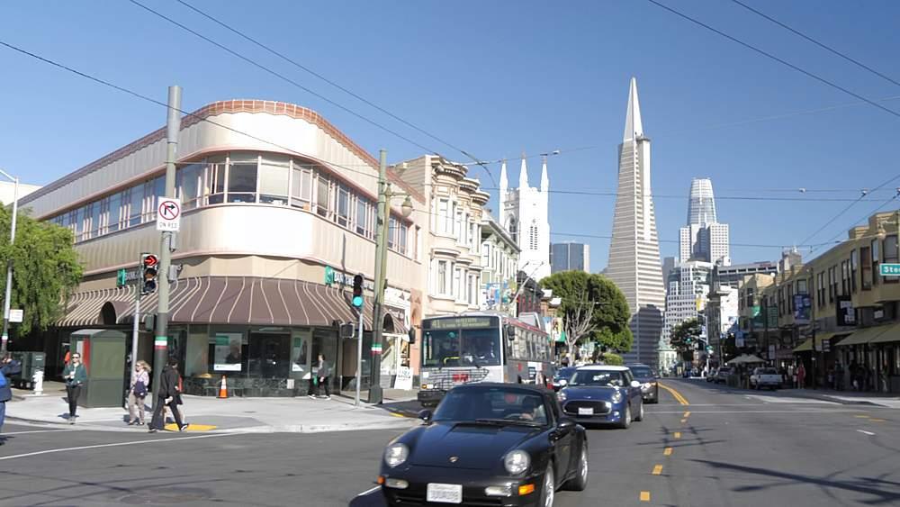 Pan shot from Stockton to Columbus Avenue and Transamerica Pyramid, San Francisco, California, United States of America, North America