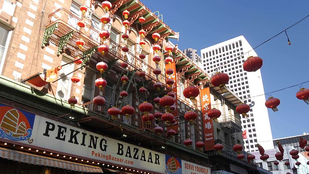 View of Chinese lanterns and restaurants on Grant Street in Chinatown, San Francisco, California, United States of America, North America - 844-18551