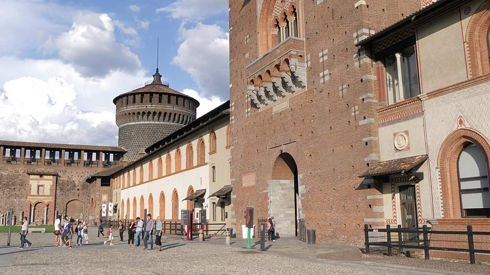 Tilt shot of Castello Sforzesco central tower from courtyard, Milan, Lombardy, Italy, Europe - 844-18566