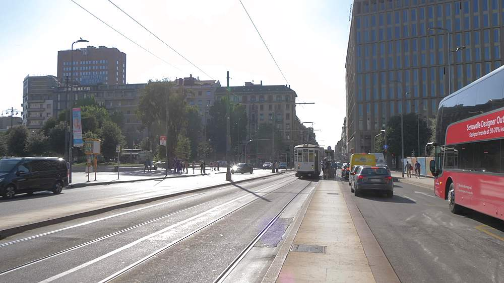 View of tram passing Milan Central Station, Milan, Lombardy, Italy, Europe - 844-18572