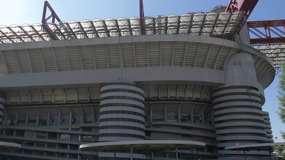 Tracking shot of San Siro Stadium from open top bus, Milan, Lombardy, Italy, Europe - 844-18585