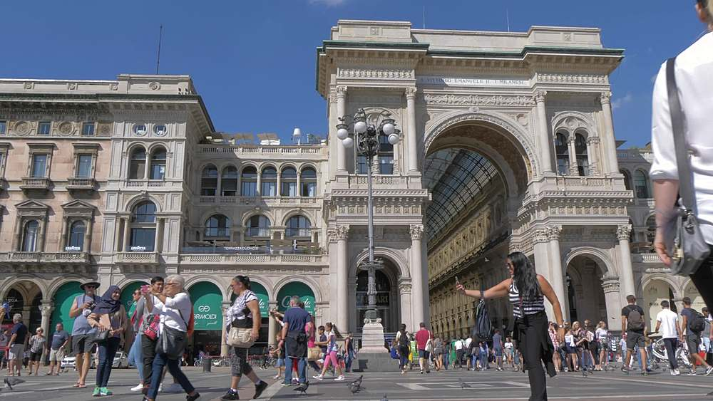 Tracking shot of people and Galleria Vittorio Emanuele II in Piazza del Duomo, Milan, Lombardy, Italy, Europe - 844-18608