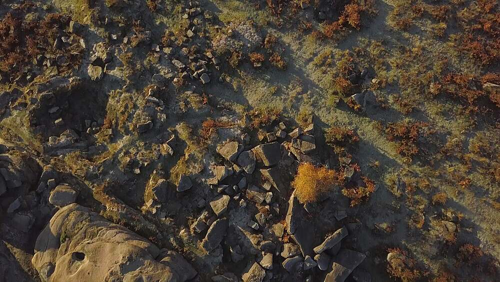 Drone shot over rock formations at Owler Tor, Hope, Peak District National Park, Sheffield, South Yorkshire, England, UK, Europe - 844-18635