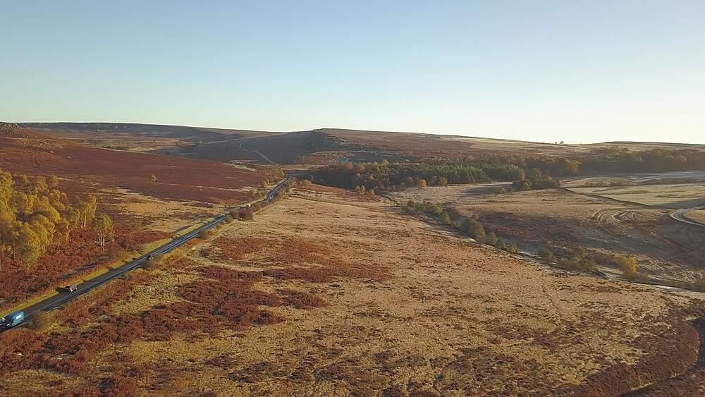 Drone shot over rock formations at Owler Tor, Hope, Peak District National Park, Sheffield, South Yorkshire, England, UK, Europe