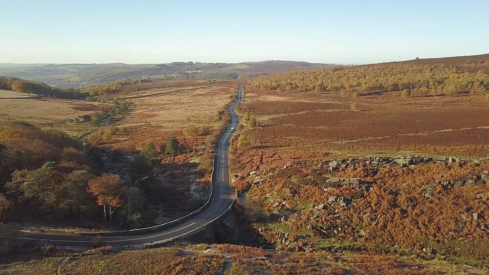 Drone shot close to Burbage South Edge, Hope, Peak District National Park, Sheffield, South Yorkshire, England, UK, Europe