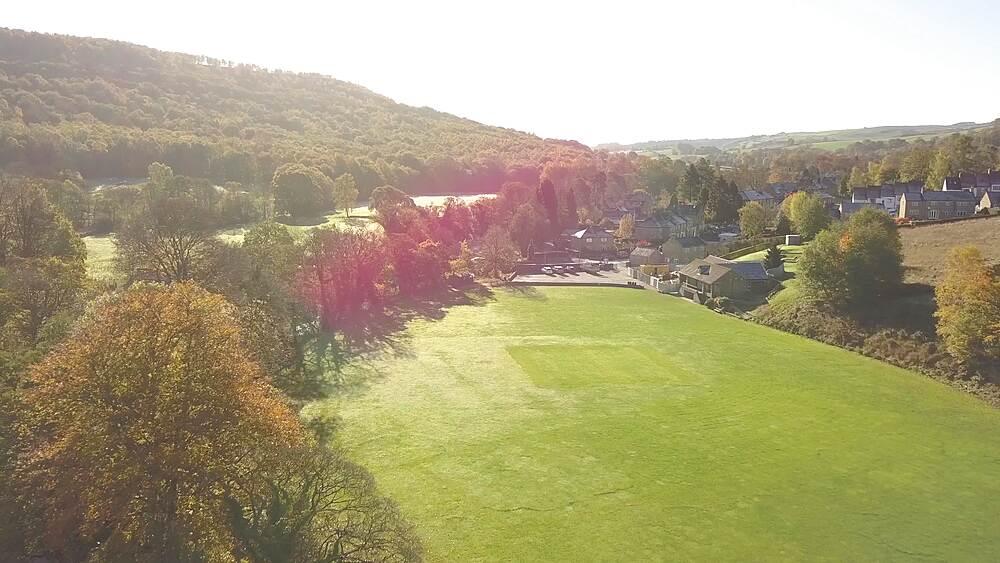 Drone shot River Derwent near Grindleford, Peak District National Park, Derbyshire, England, UK, Europe