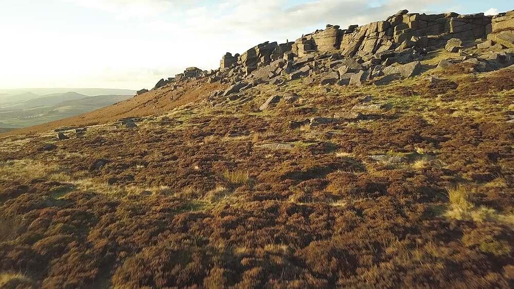 Drone shot of Stanage Edge, Peak District National Park, Derbyshire, England, UK, Europe