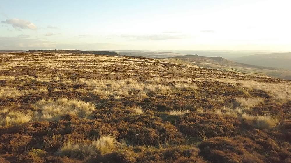 Drone shot of landscape near Stanage Edge, Peak District National Park, Derbyshire, England, UK, Europe