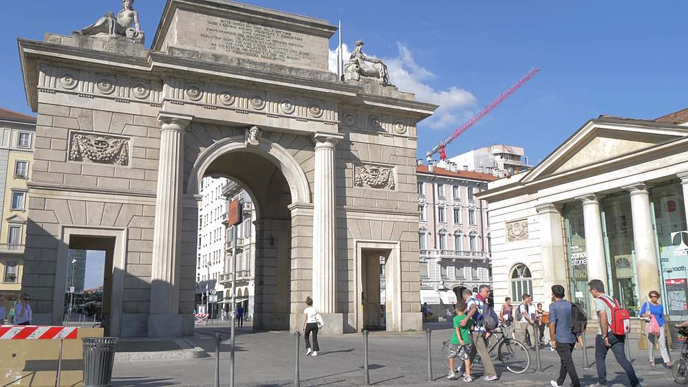 Tracking shot of Porta Garibaldi with Piazza Gae Aulenti visible in background, Milan, Lombardy, Italy, Europe