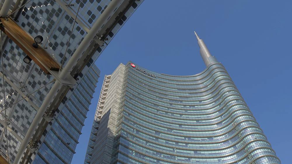Tracking shot of Piazza Gae Aulenti modern architecture, Milan, Lombardy, Italy, Europe - 844-18690