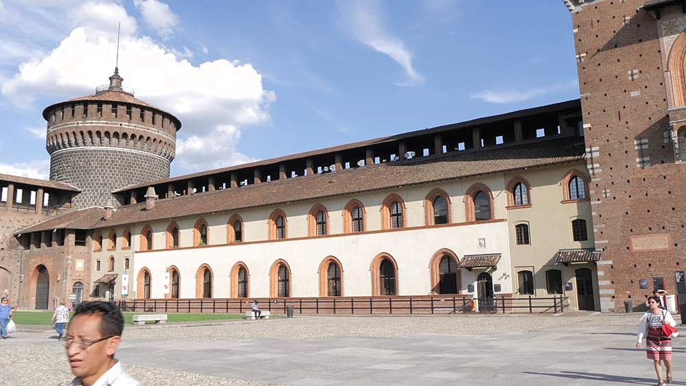 Pan shot of Castello Sforzesco central tower from inside castle, Milan, Lombardy, Italy, Europe