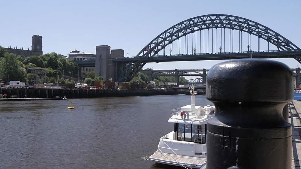 View of River Tyne, Gateshead Millennium Bridge to Tyne Bridge, Newcastle-upon-Tyne, Tyne and Wear, England, United Kingdom, Europe - 844-18750