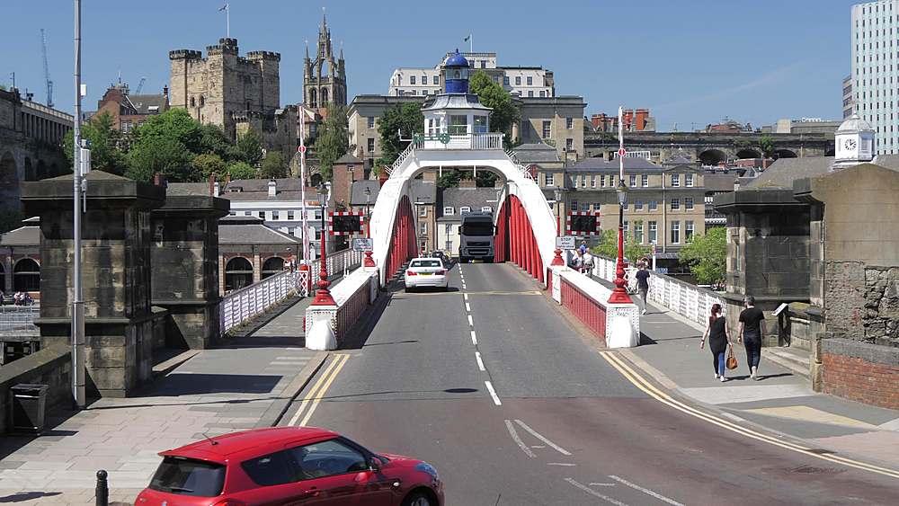 Panning shot of High Level Bridge to Swing Bridge, Newcastle-upon-Tyne, Tyne and Wear, England, United Kingdom, Europe