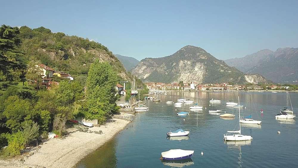 Flight over Lake Maggiore near Feriolo, Piedmont, Italy, Europe - 844-18824