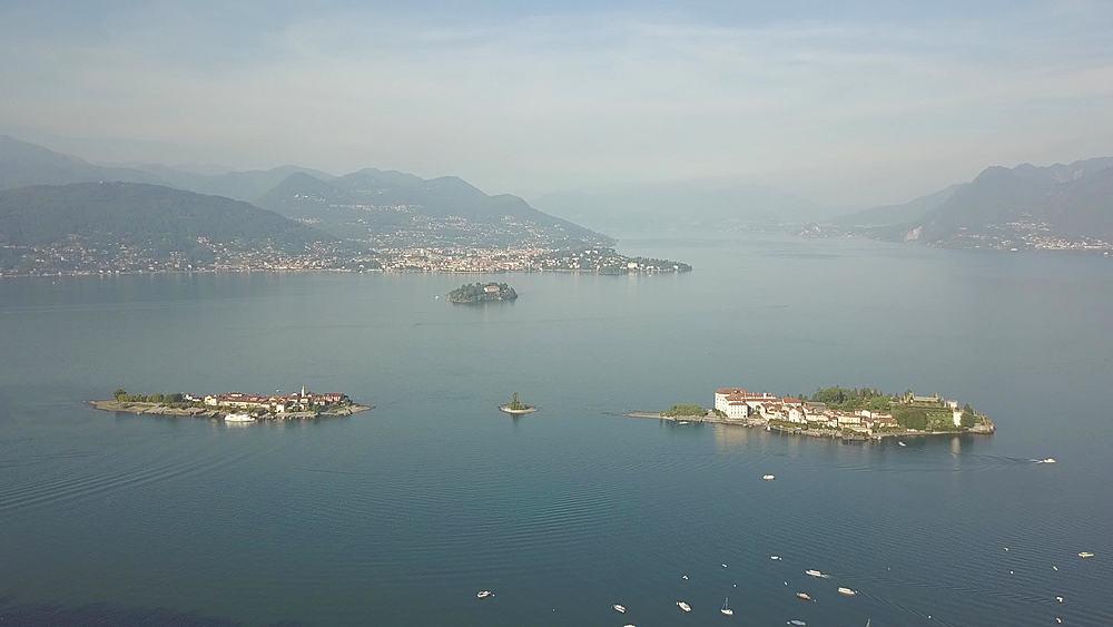 Flight over Lake Maggiore towards Borromean Islands near Stresa, Piedmont, Italy, Europe - 844-18825