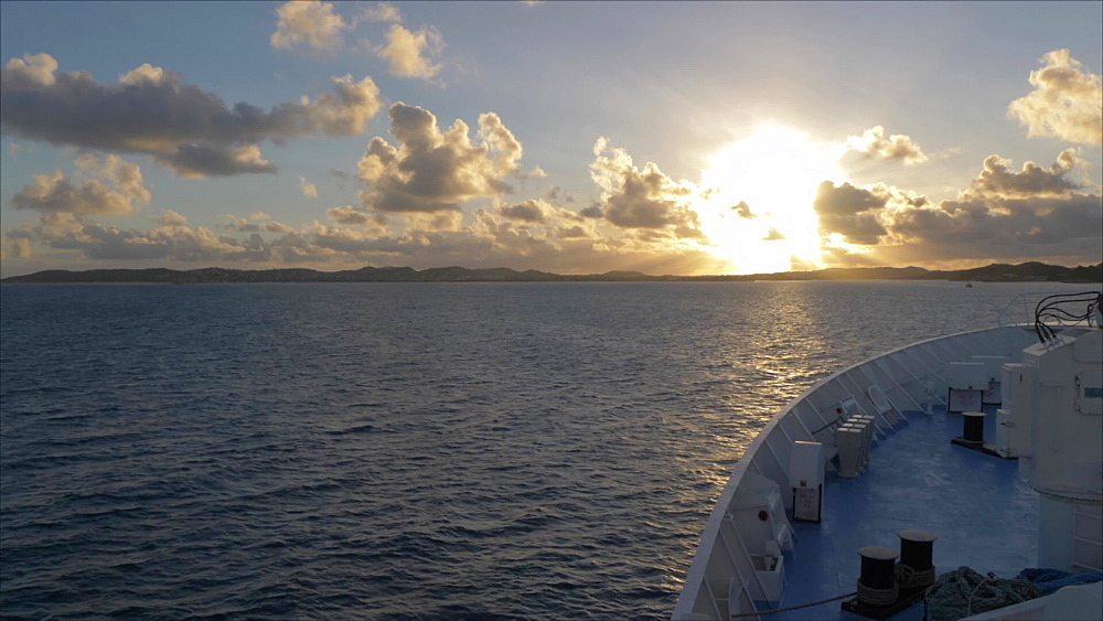Generic shot of sun rising on Caribbean Sea from moving cruise ship, West Indies, Caribbean, Central America