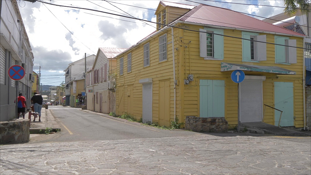 Street signs and buildings on Corn Alley, St. John's, Antigua, Antigua and Barbuda, Caribbean Sea, West Indies, Caribbean, Central America