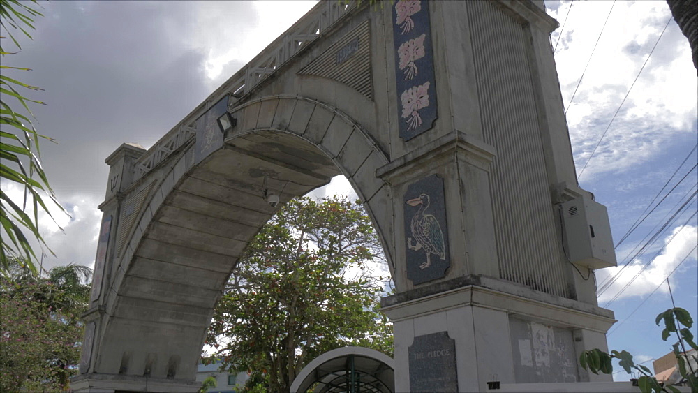 Slider shot of Independence Arch of Chamberlain Bridge, Bridgetown, Barbados, West Indies, Caribbean, Central America - 844-19054