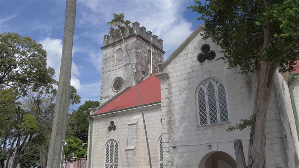 Crane shot of St. Michael Anglican Cathedral, Bridgetown, Barbados, West Indies, Caribbean, Central America - 844-19056