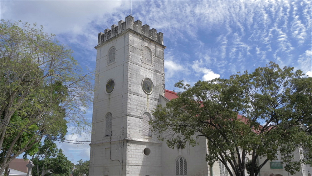 Crane shot of St. Michael Anglican Cathedral, Bridgetown, Barbados, West Indies, Caribbean, Central America - 844-19058