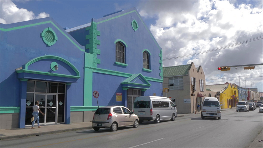 Colourful buildings in city centre, Bridgetown, Barbados, West Indies, Caribbean, Central America