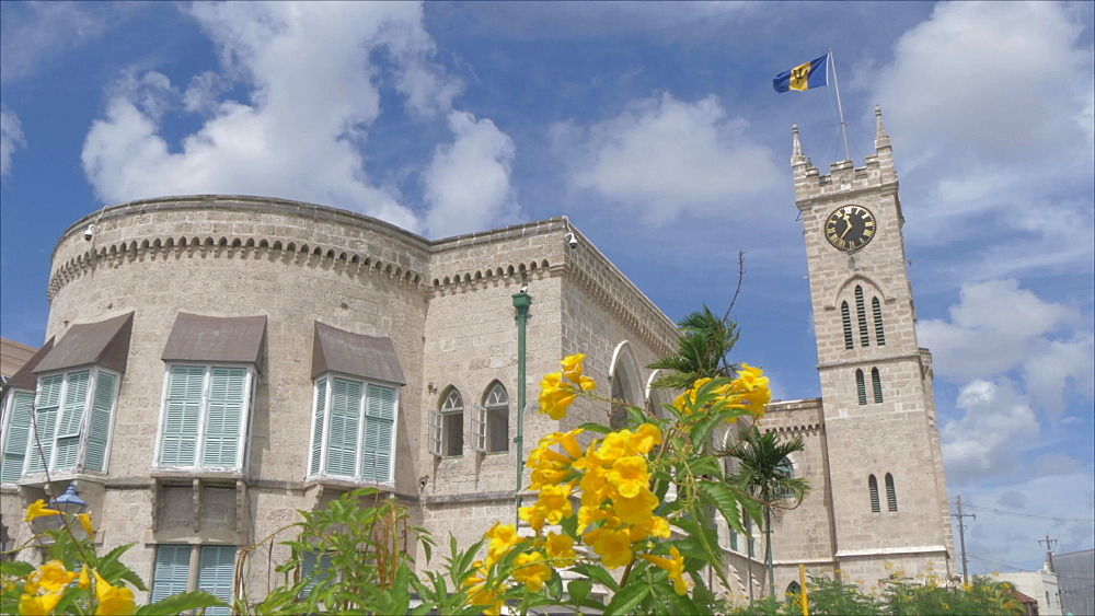 Slider shot of Parliament Building from National Heroes Square, Bridgetown, Barbados, West Indies, Caribbean, Central America - 844-19063