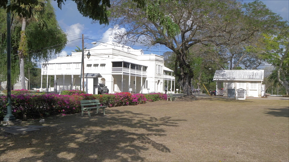 Crane shot of Queens Park House in Queens Park, Bridgetown, Barbados, West Indies, Caribbean, Central America - 844-19098