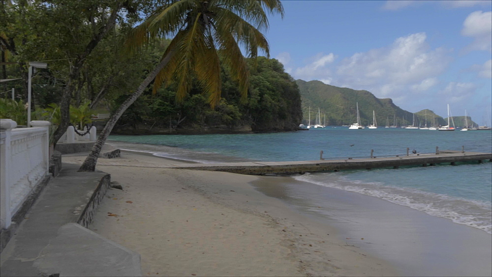Roaming shot of beach in Port Elizabeth, Bequia, St. Vincent and The Grenadines, West Indies, Caribbean, Central America - 844-19106