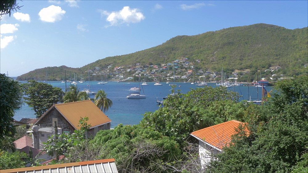 Elevated view of harbour in Port Elizabeth, Bequia, St. Vincent and The Grenadines, West Indies, Caribbean, Central America