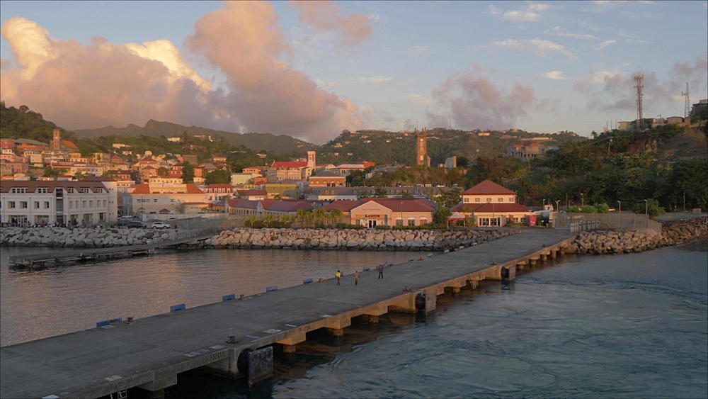 St. George's at sunset from cruise ship leaving port, Grenada, Windward Islands, West Indies, Caribbean, Central America