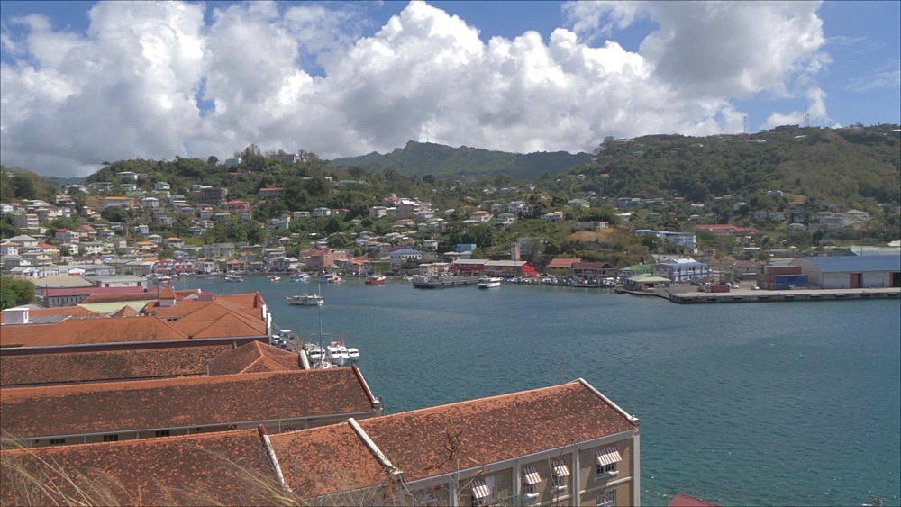 Crane shot over the Carenage (the old harbour), St George's, Grenada, Windward Islands, West Indies, Caribbean, Central America - 844-19175